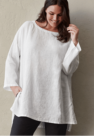 Eileen Fisher organic linen top | Comes in 3XL