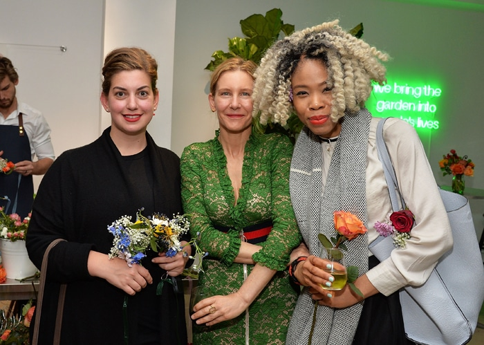 """NEW YORK, NY - MAY 04: (L-R) Katie Rodgers, Garden Collage's CEO Daisy Helman and Jennifer Nnamani attend the Floral Salon celebration by Garden Collage and Phaidon on May 4, 2016 in New York City. (Photo by Slaven Vlasic/Getty Images for Garden Collage )"""