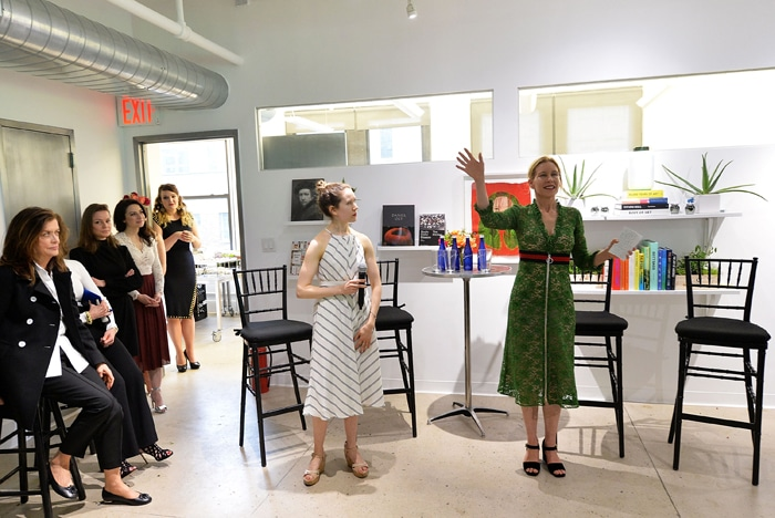 """NEW YORK, NY - MAY 04: Garden Collage's Editor-in-Chief Molly Beauchemin (L) and Garden Collage's CEO Daisy Helman speak at the Floral Salon celebration by Garden Collage and Phaidon on May 4, 2016 in New York City. (Photo by Slaven Vlasic/Getty Images for Garden Collage )"""