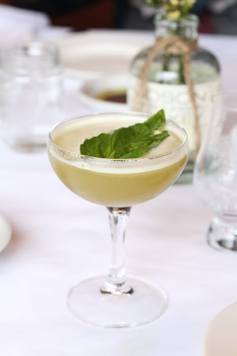 A basil whiskey cocktail