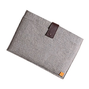 13-inch MacBook Air sleeve, crafted with ethical production and locally-sourced materials like hand-dyed, felted wool.