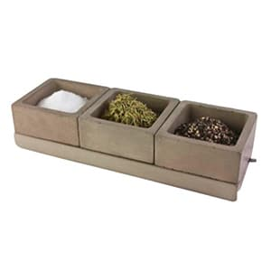 Spice caddy handmade in the U.S. from a concrete blend made from recycled stone dust from the local countertop industry.