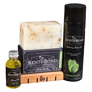 Made in the U.S. of organic ingredients. For every product that is purchased, Kent & Bond donates 1 bar of soap to someone in need.