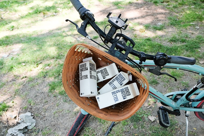 Boxed Water in a bike.