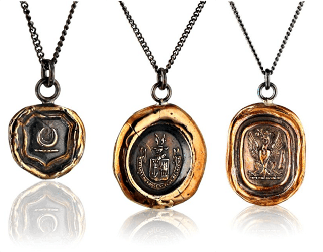 """New Beginnings, ""Follow Your Dreams,"" and ""Be Here Now"" talismans. Eco-friendly recycled talisman jewelry - Pyrrha"