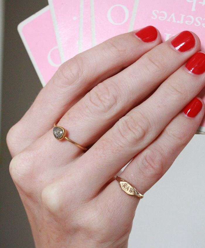 Handmade recycled gold pinkie signet ring with ethically sourced diamonds