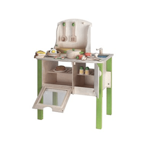 A complete country kitchen playset with pots, pans, sustainable materials, and a healthy dose of non-gender-conformity.