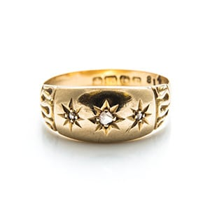 Vintage star diamond gold ring