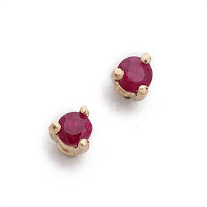 Recycled gold and ruby studs
