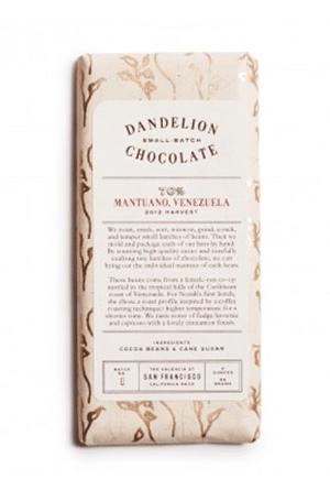 Bean-to-bar chocolate straight from San Francisco. The single-origin Mantuano comes from a female-run co-op in Venezuela.
