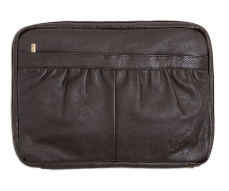 Sustainable leather laptop case by Happy Cow