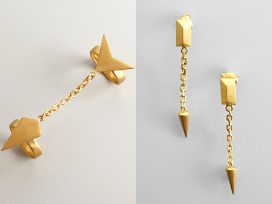 Edge of Ember Gold Spike Drop Earrings, $24, and Arrowhead Chain Ring, Bluefly, $55