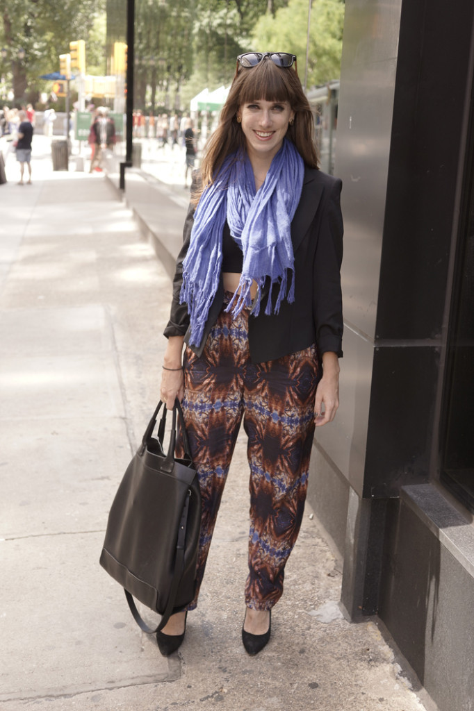 Scarf by Love Quotes, jacket by Theory, purse by Bonastre