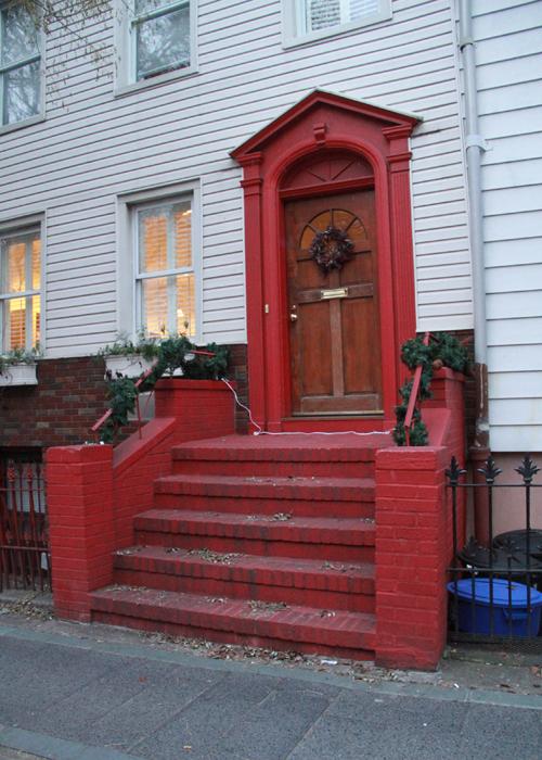 Red stoop in Brooklyn