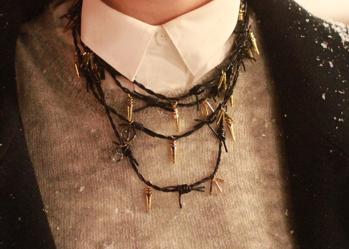 leather barbed wire necklace