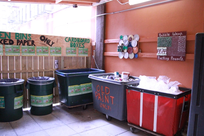 Along with the regular bins, there's also old paint and packing materials