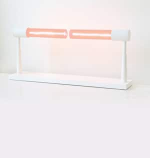 Lamp comes in pink, black, white and yellow, with white, black, silver, bronze and gold metal body // made in NYC
