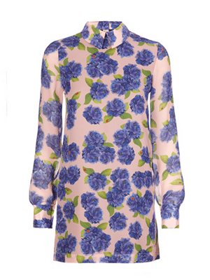Pink and blue floral long-sleeve dress // Beautiful Soul London