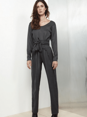 Grey wool jumpsuit with long sleeves