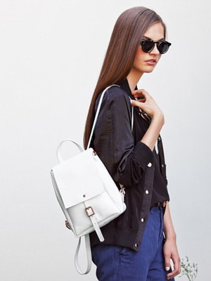 Vegetable tanned mini white leather backpack // handmade in England // Alfie Douglas