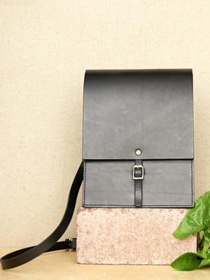 Black leather mini shoulder bag // vegetable tanned // handmade in England