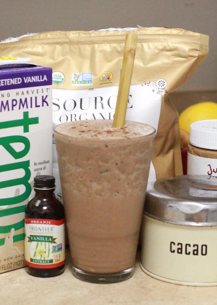 Ice Cream for Breakfast Smoothie // grass-fed whey protein powder, cocoa, hemp milk, vanilla, almond butter, banana, agave, ice