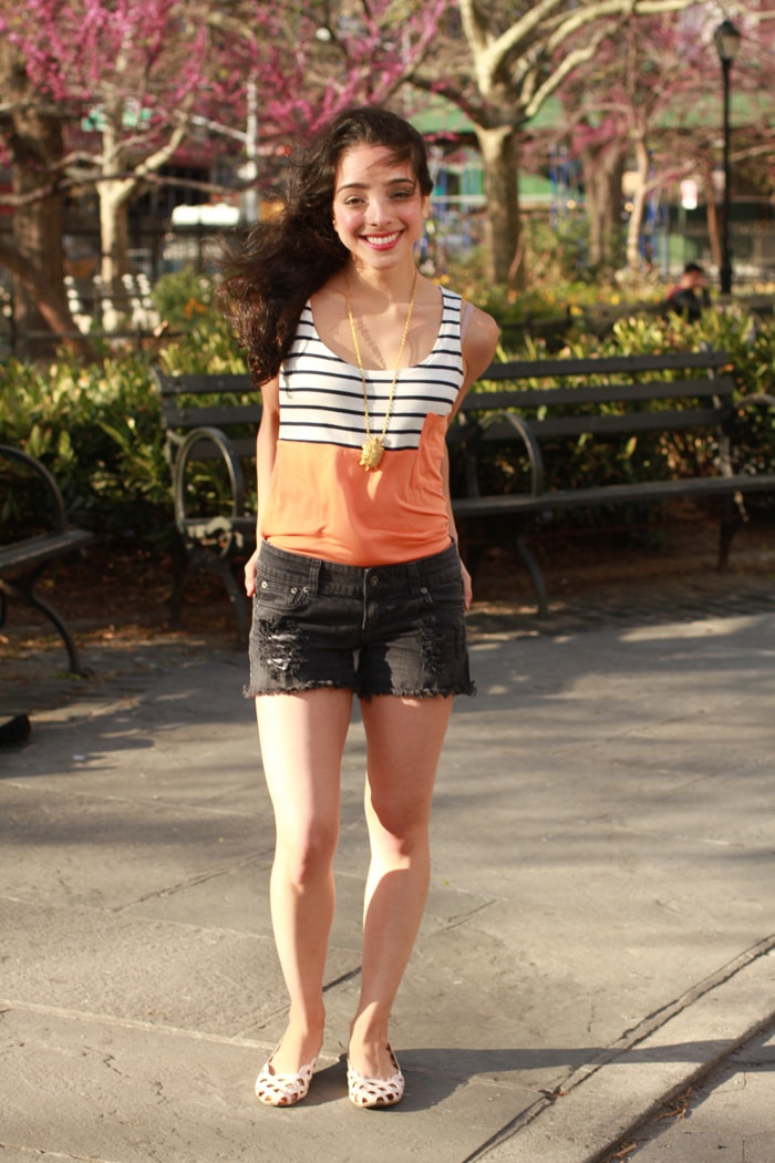 Amour Vert summer orange and blue and white stripes tank // eco-friendly
