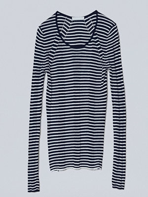 M. Patmos cotton and silk long sleeved strip layering tee