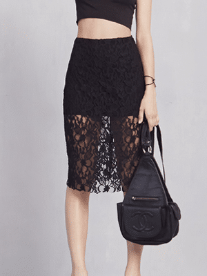 Reformation lace see-through pencil skirt