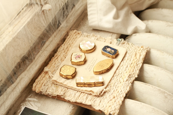 Vintage pill boxes with solid perfume