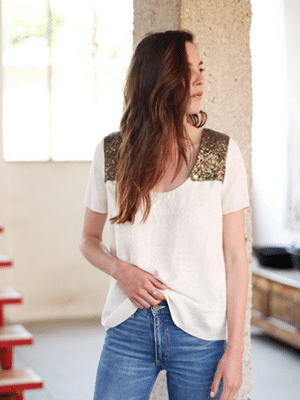 Sezane shirt with sequined shoulders