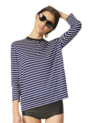 Heidi Merrick blue striped tee