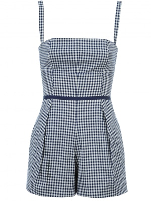 Magge Frances Blue Checked Romper // made in the US