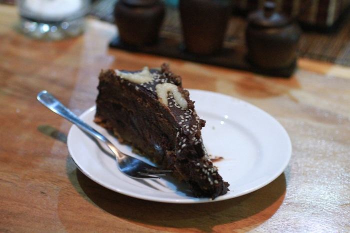Vegan and gluten-free chocolate cake at Dayu's Warung