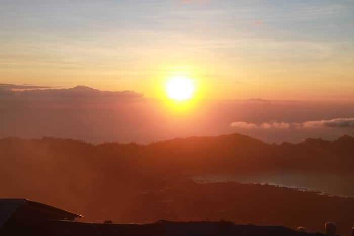 The sunrise over Lake Batur