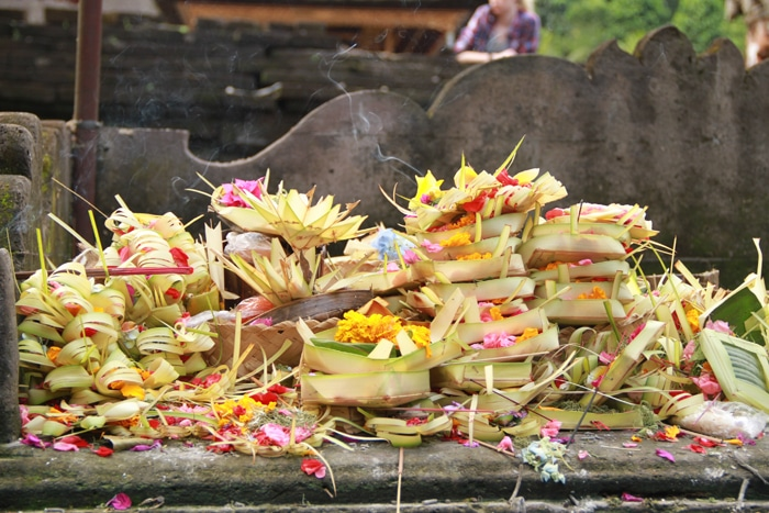 Offerings at the Tirta Empul temple in Bali