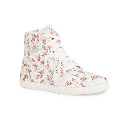 Women's Flowered High Top Sneakers by People's Movement // organic and eco-friendly materials