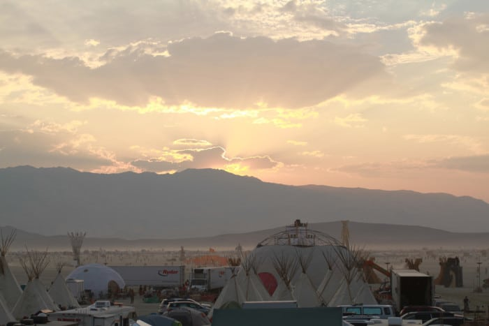 Sunset over the Playa at Burning Man