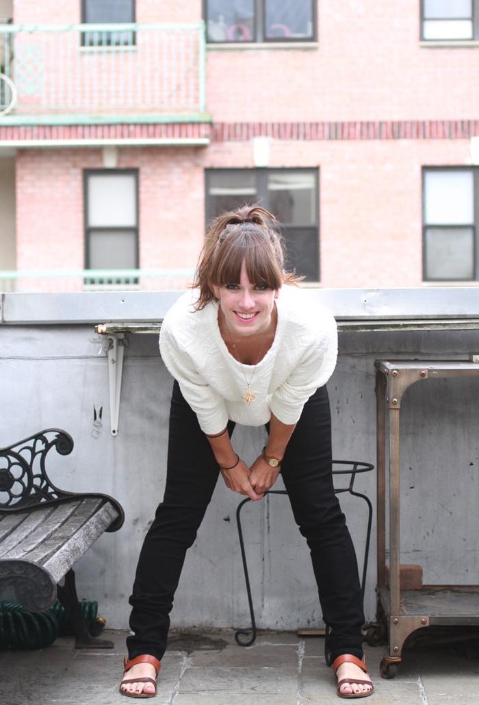 Synjin jacquard sweater, Imogene + Willie black jeans // Alden Wicker of EcoCult