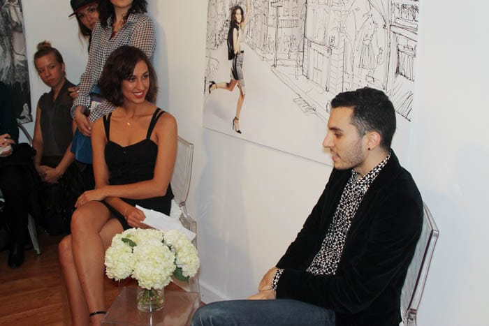 Juliette Donatelli and Daniel Silverstein discussing zero waste fashion.