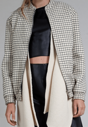 Arkins Cream Checkered Jacket | Made in NYC from a renewable resource