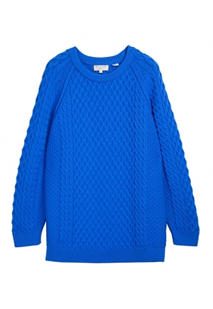 Chinti and Parker blue fisherman's sweater | 100% merino worsted wool | made in the EU | carbon offset