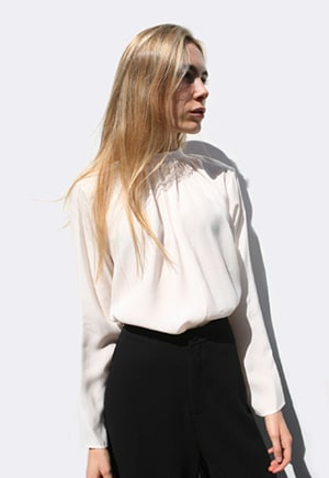 Apiece Apart shirred Georgia top | viscose and cupro | Made in NYC