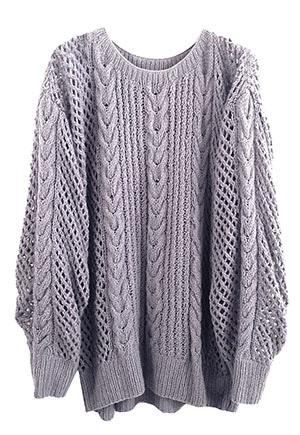 Ryan Roche Fisherman's Sweater in lavender | handknit cashmere