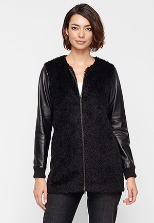 Eileen Fisher Alpaca and leather jacket // made in Peru