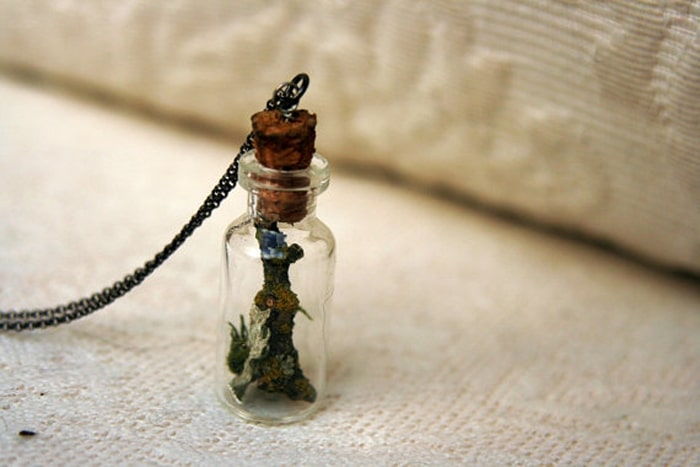 Lovehewn necklace made from repurposed vetinary medicine bottle and upcycled wine cork