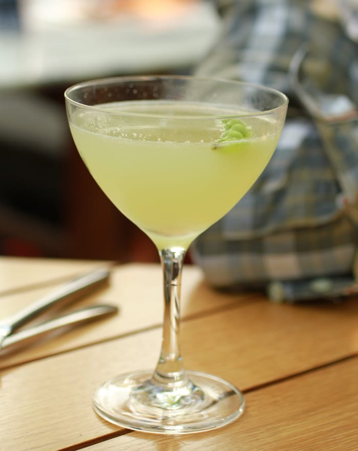 Gentleman's Farmer:  Bison's Grass vodka, muddle snap peas, tarragon and fresh lime, at Narcissa in NYC