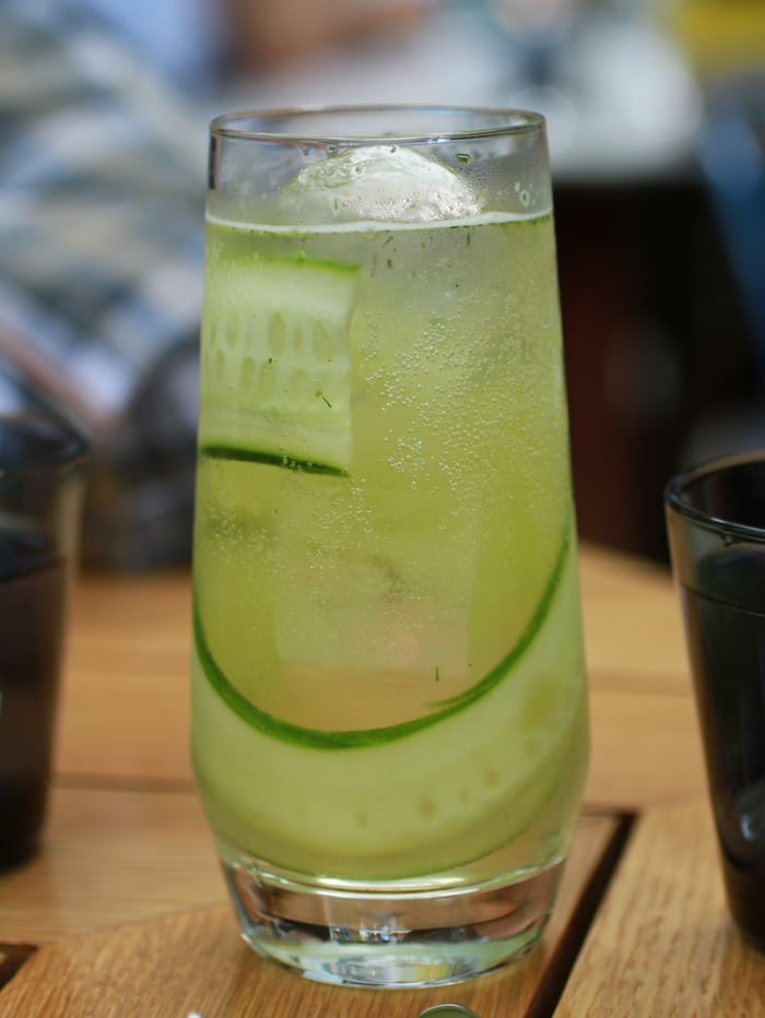 Noonday Spritzer: vermouth, Moet, herbaceous botanicals, fresh mint and dill