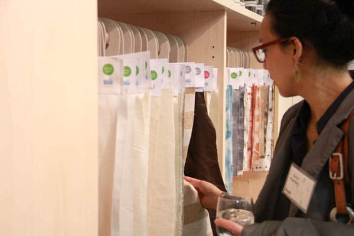 The textile library, which lets designers feel and learn about sustainable textile options.