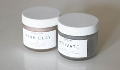 In jars to pretty to put away in the cabinet, these clays are a gentler and more pleasant smelling alternative to Aztec clay.